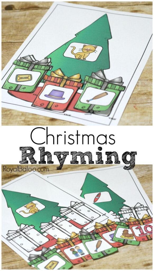 Free Christmas Rhyming Set For Beginning Readers   Royal