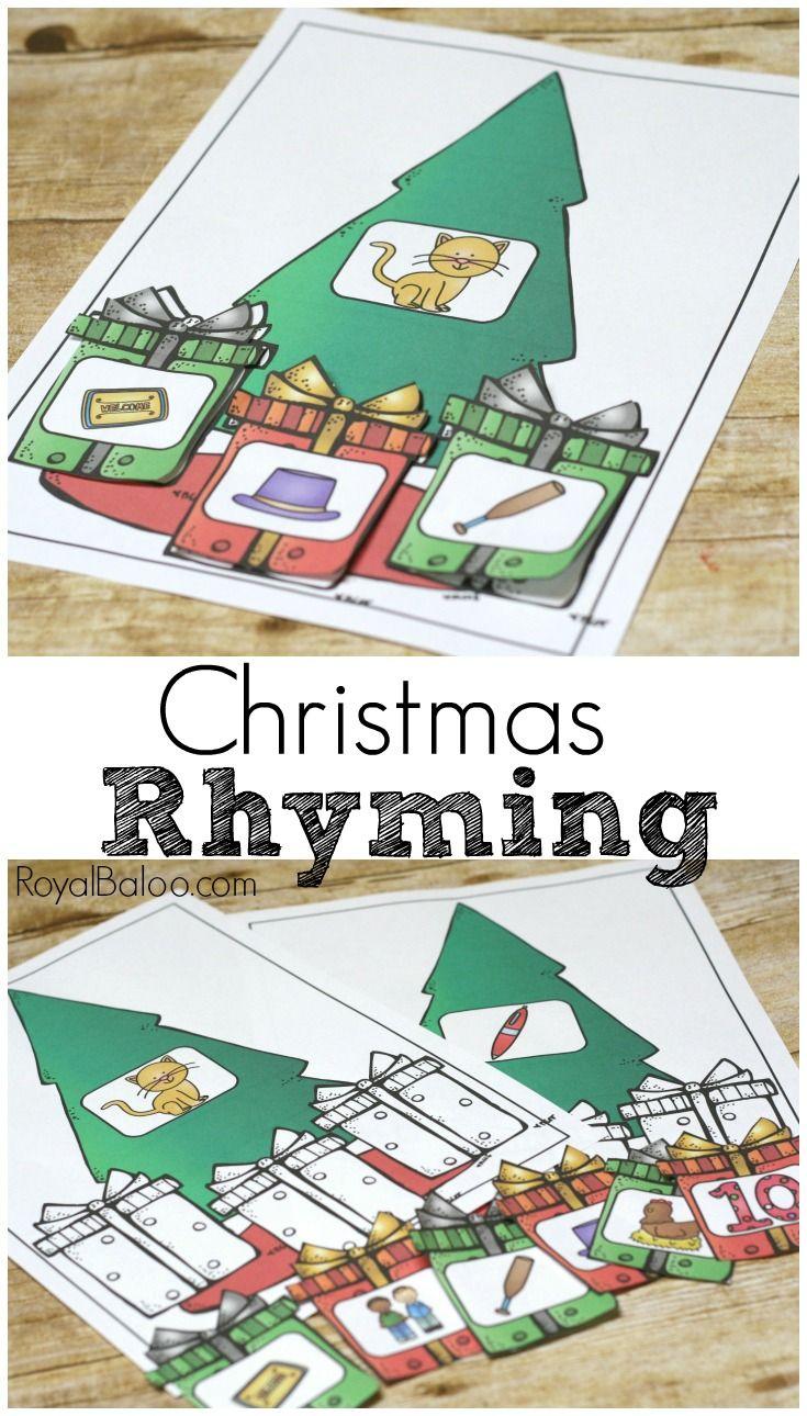 Free Christmas Rhyming Set For Beginning Readers - Royal