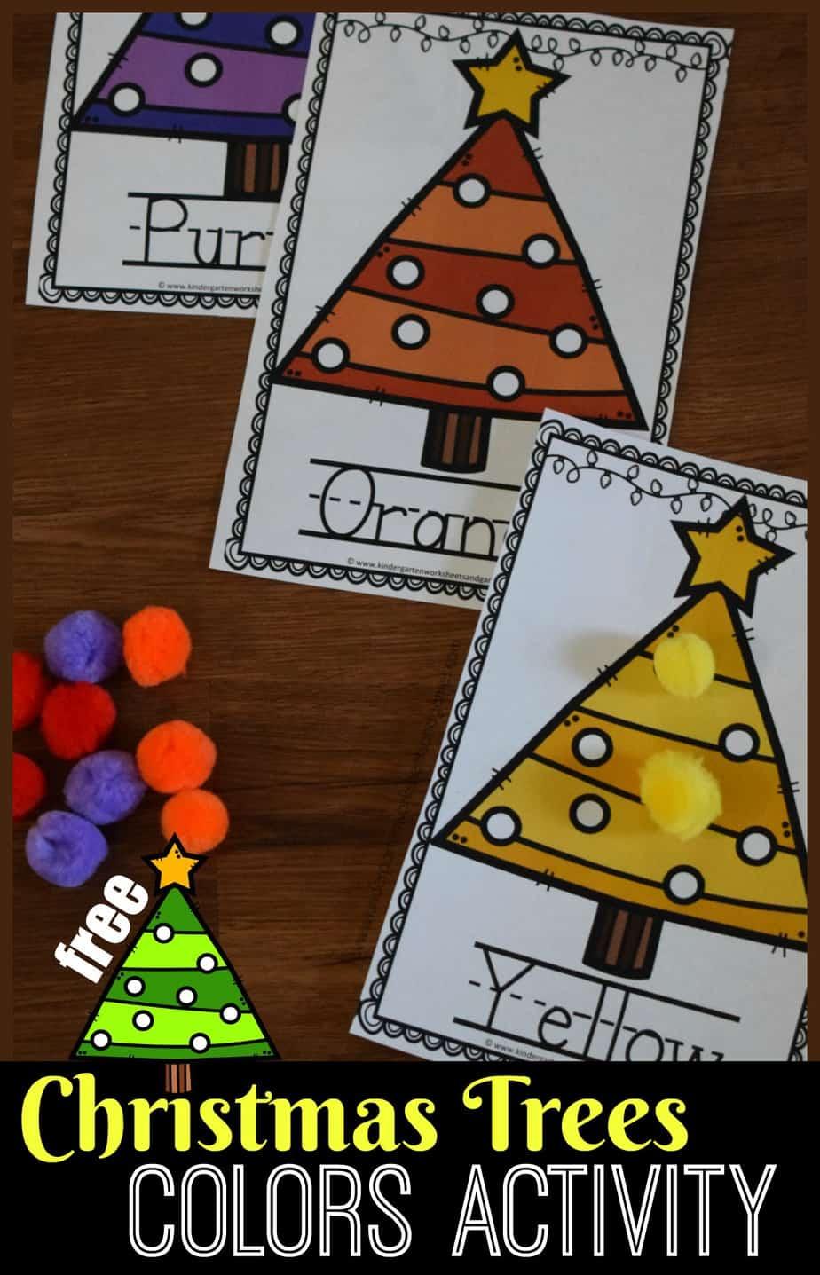 Free Christmas Tree Fine Motor Color Matching