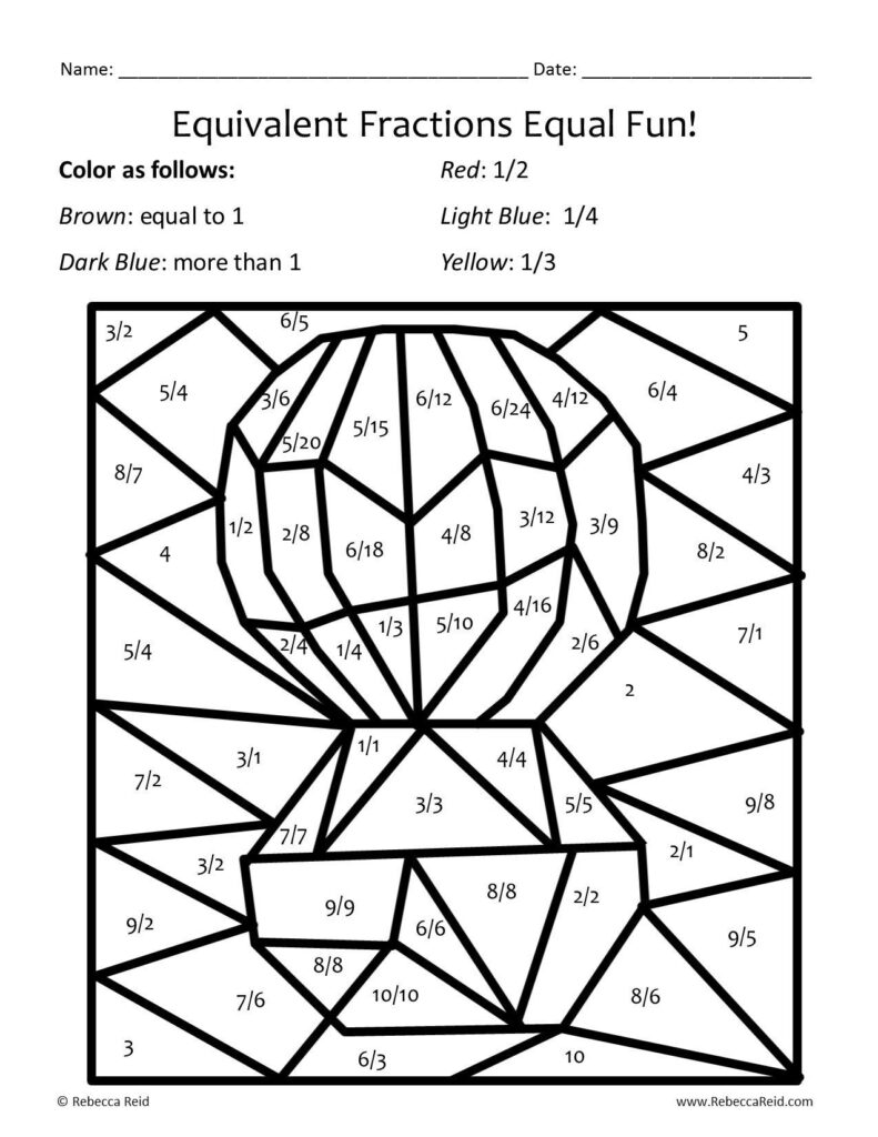 Free Coloring Pages Of Fractions Puzzle | Math Coloring