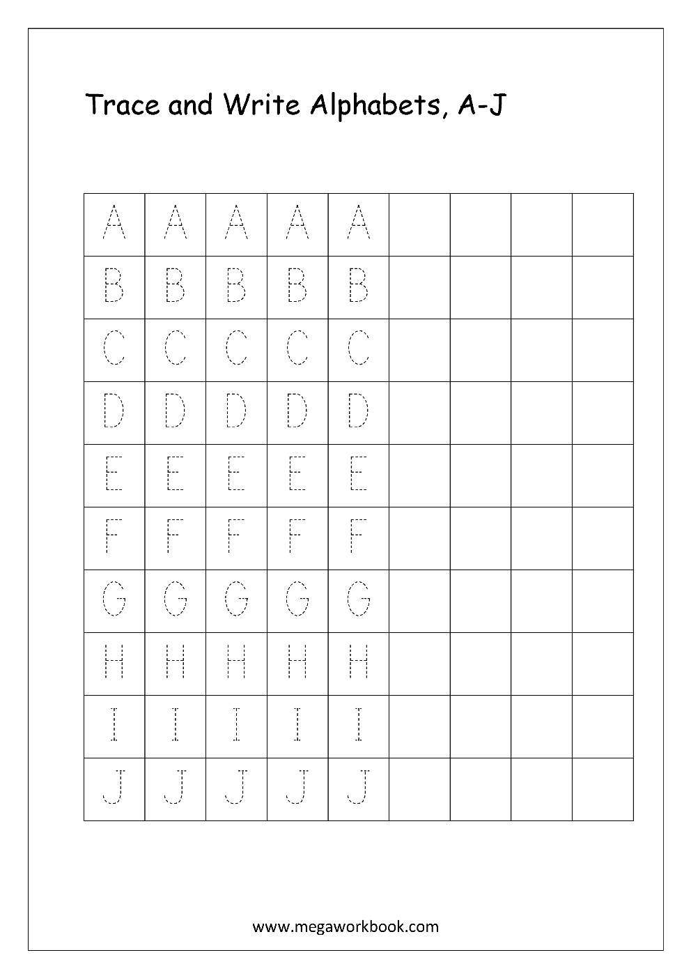 Free English Worksheets - Alphabet Writing (Capital Letters