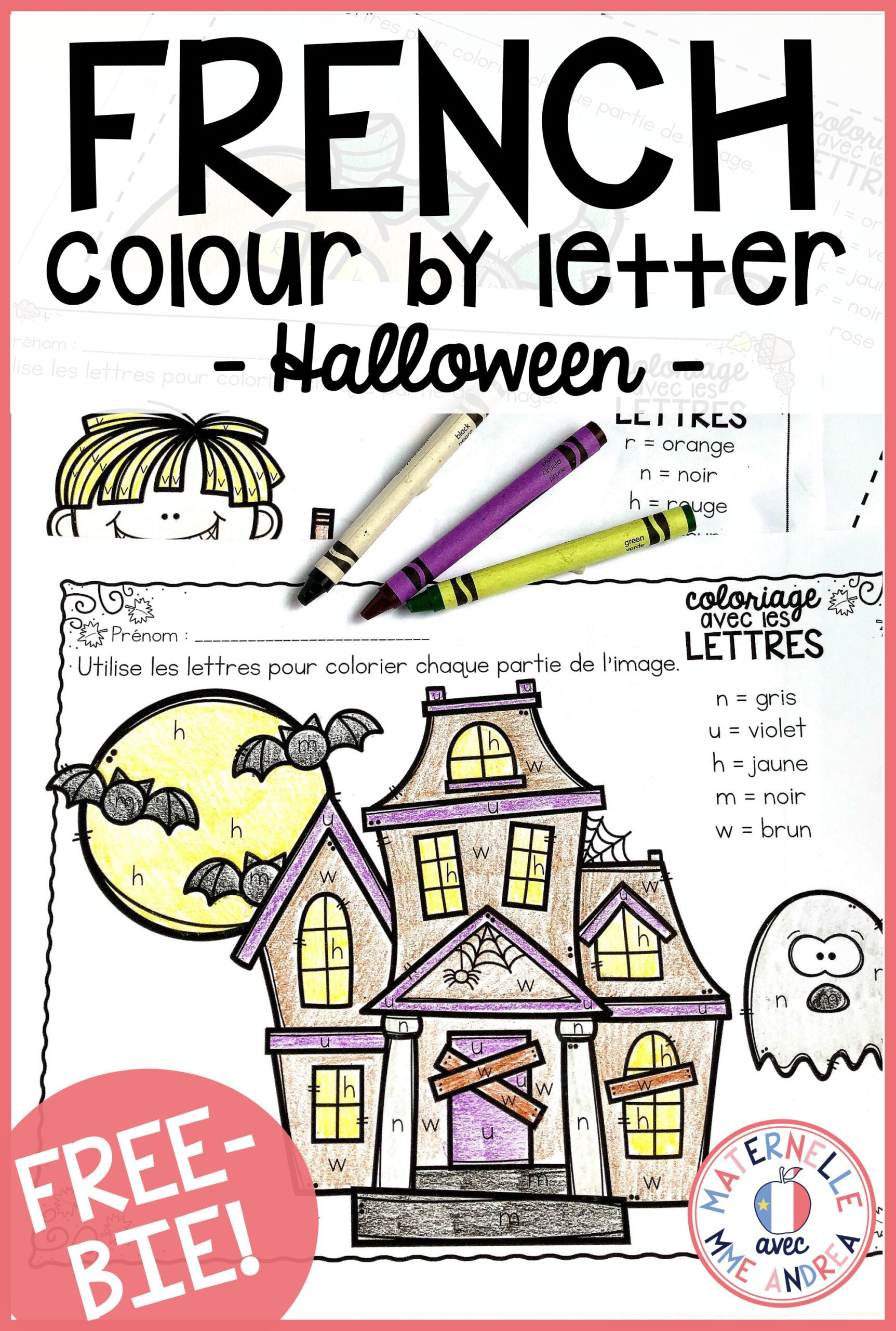 Free French Colourletter Halloween Worksheets. Help Your