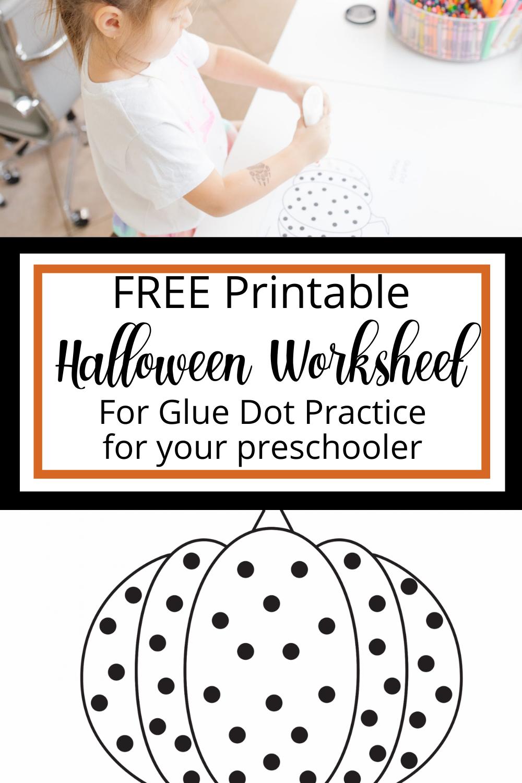 Free Glue Dot Practice Halloween Worksheet - Mamma Bear Says