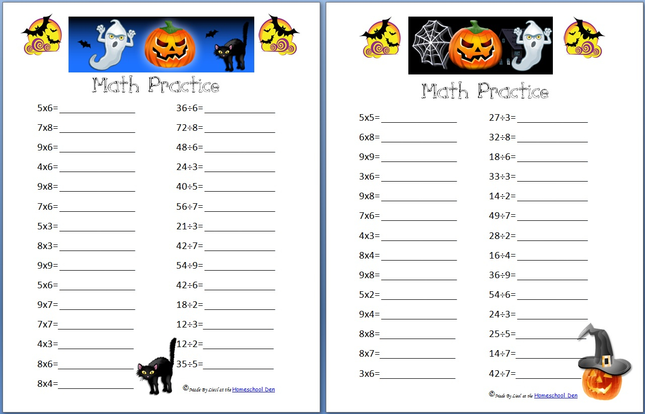 Free Halloween Math Practice Pages: Multiplication, Division