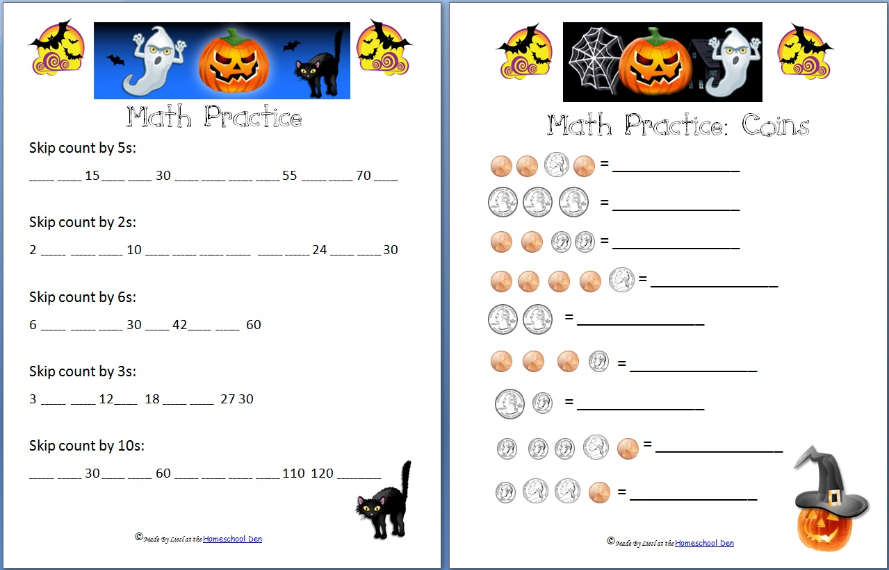 Free Halloween Math Worksheets: Addition, Subtraction, Coins
