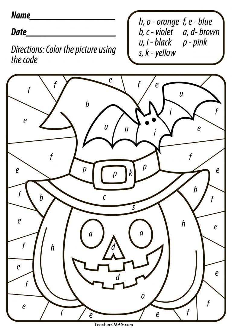 Free Halloween Pumpkin Colornumber/letter For Preschool