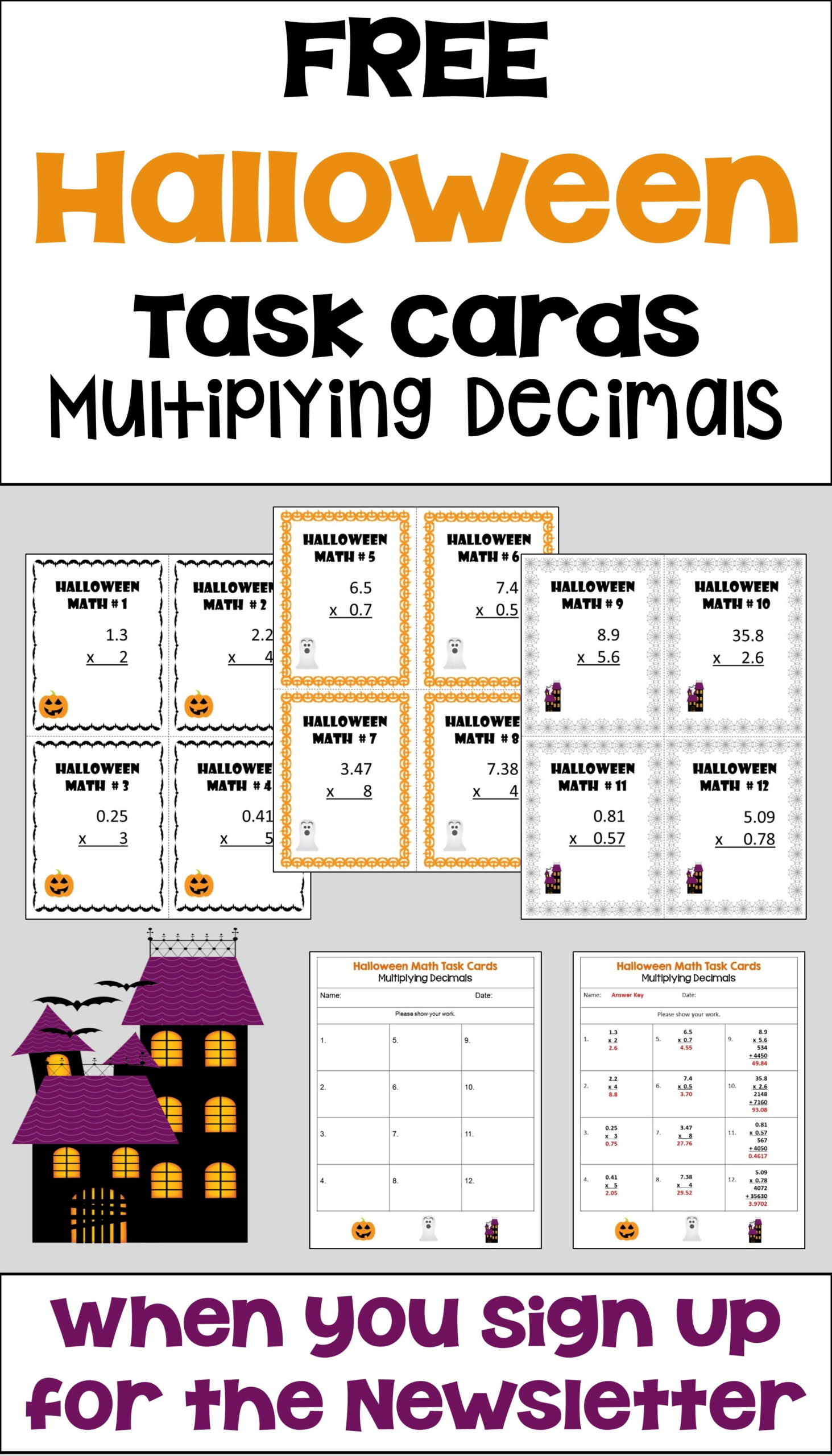 Free Halloween Task Cards For Multiplying Decimals