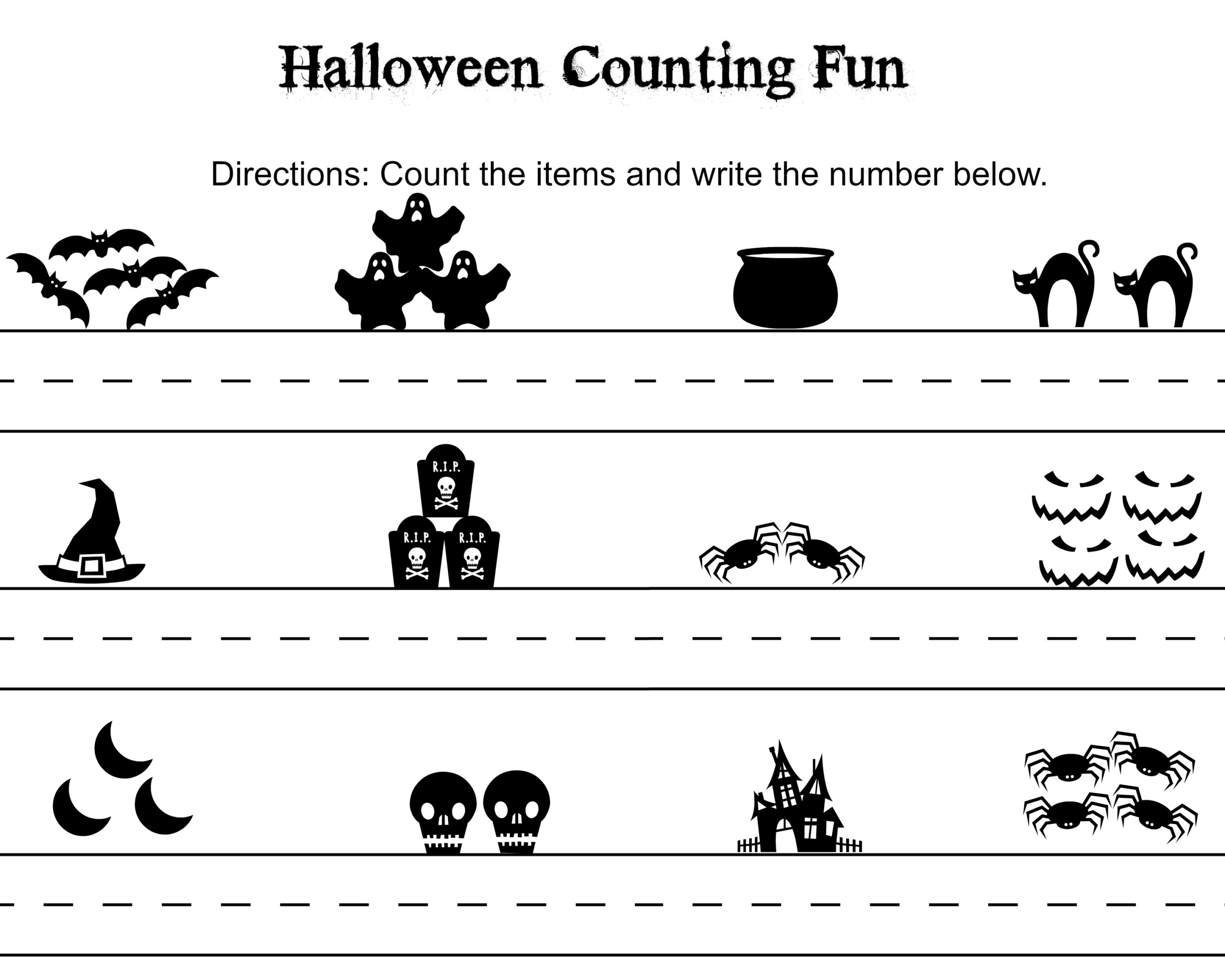 Free Halloween Word Search Counting Printables Themed Math