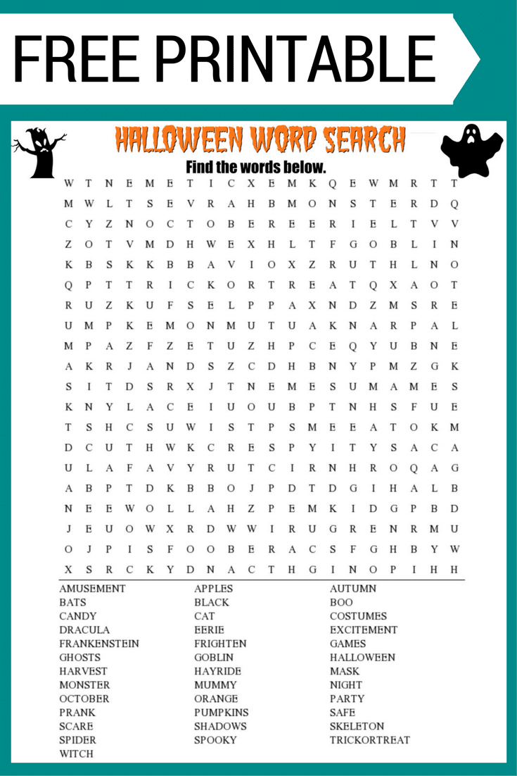 Free Halloween Word Search #printable Worksheet With 30+