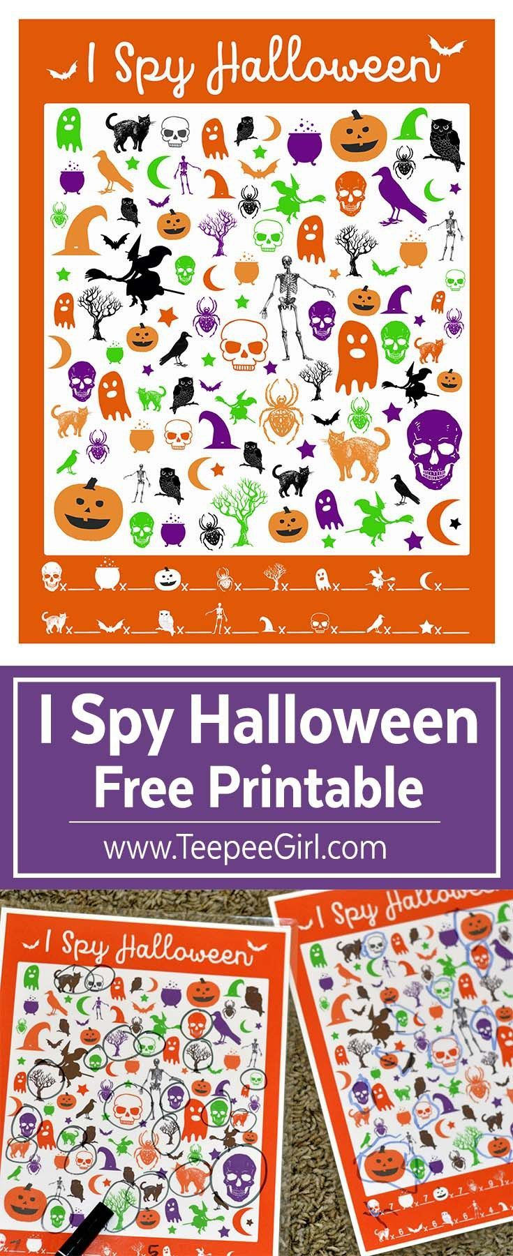 Free I Spy Halloween Printable Game | School Halloween Party