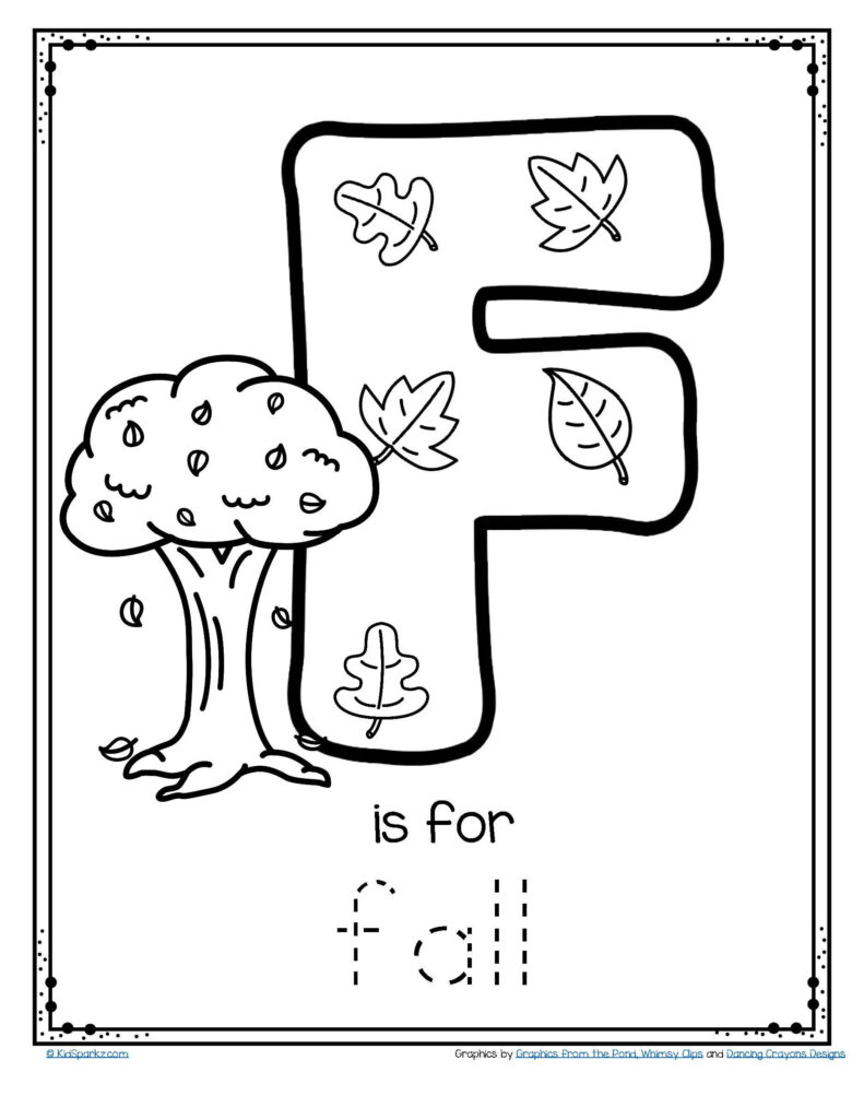 Free Is For Fall Trace And Color Letter Printable Tracing