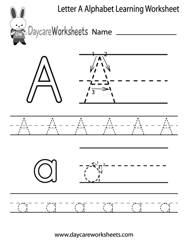 Free Letter A Alphabet Learning Worksheet For Preschool Inside Pre K Alphabet Worksheets