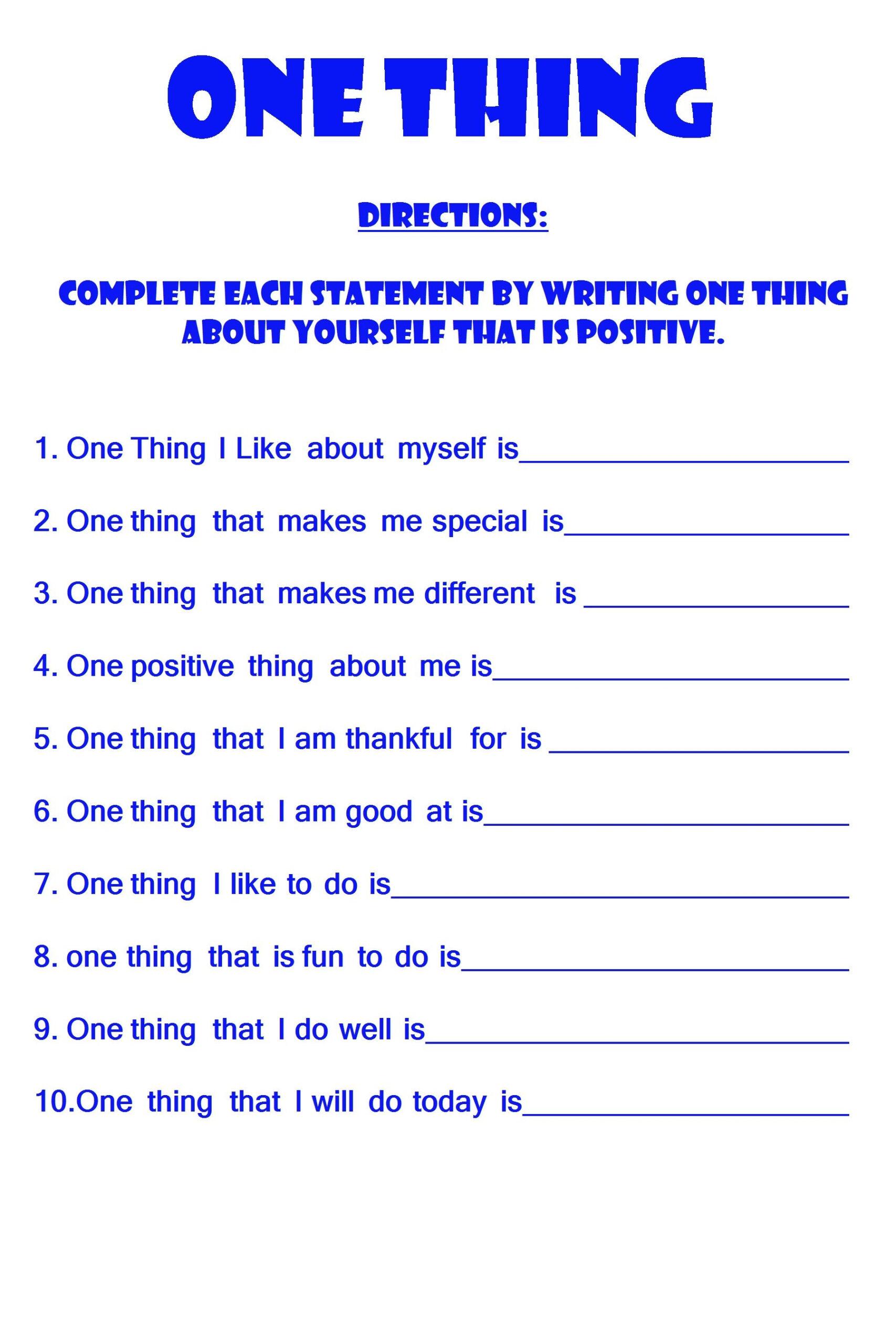 Free Positive Self Esteem Worksheet | Positive Self Esteem