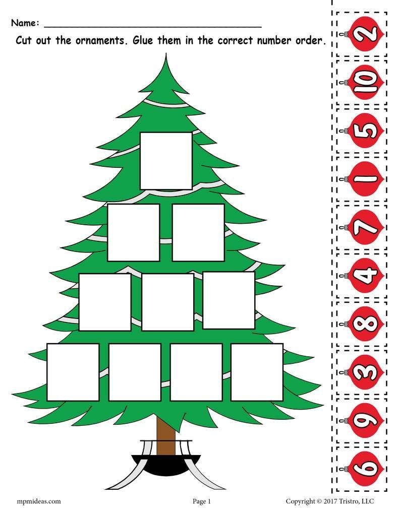 Free Printable Christmas Tree Ordering Numbers Worksheet