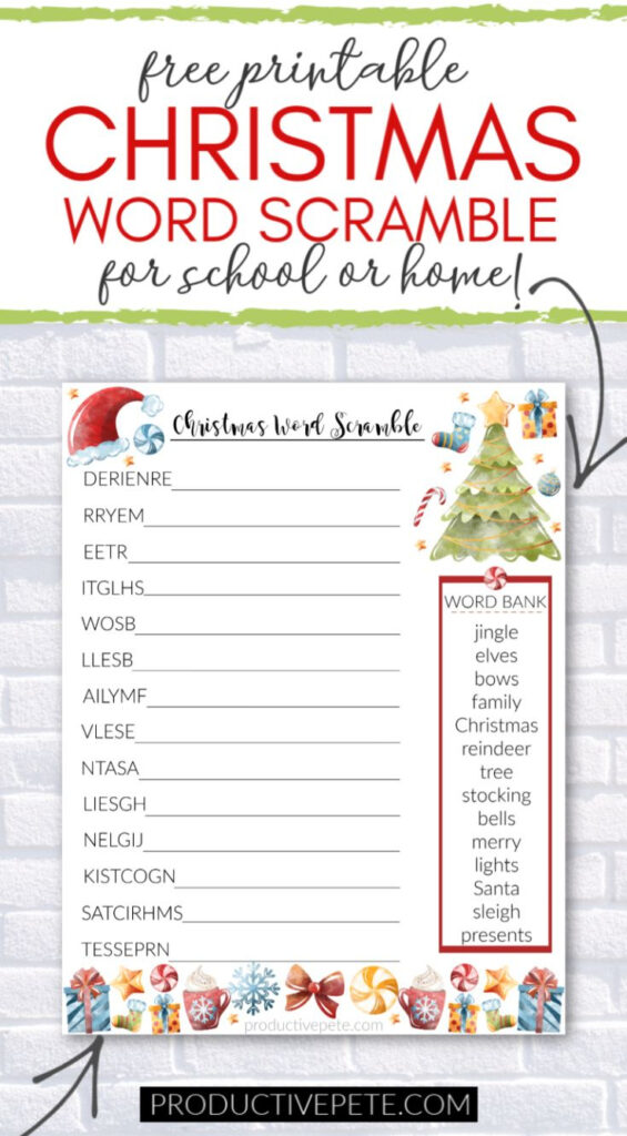 Free Printable Christmas Word Scramble For Kids In 2020