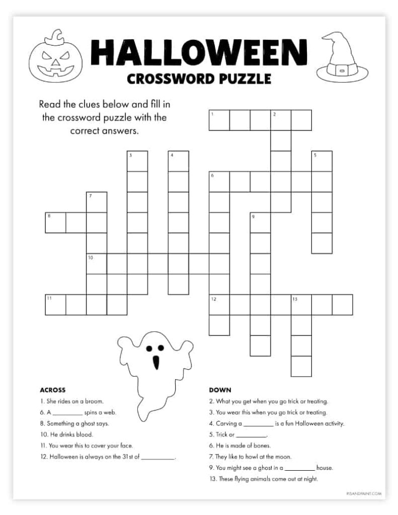 Free Printable Halloween Crossword Puzzle   Pjs And Paint