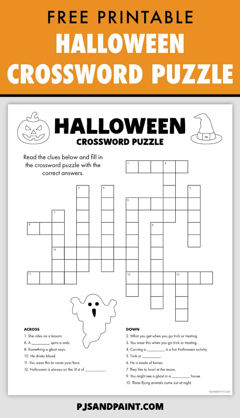 Free Printable Halloween Crossword Puzzle - Pjs And Paint