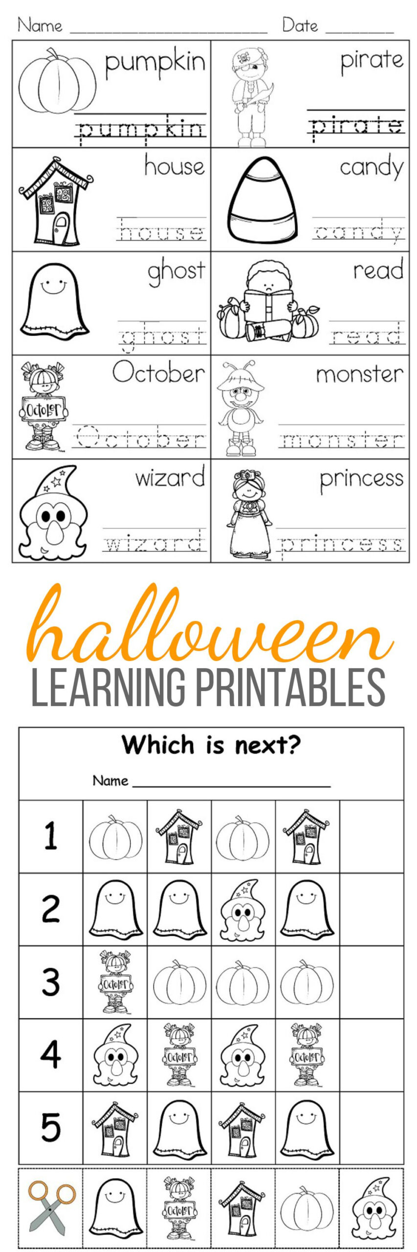 Free Printable Halloween Learning Activities For Kids