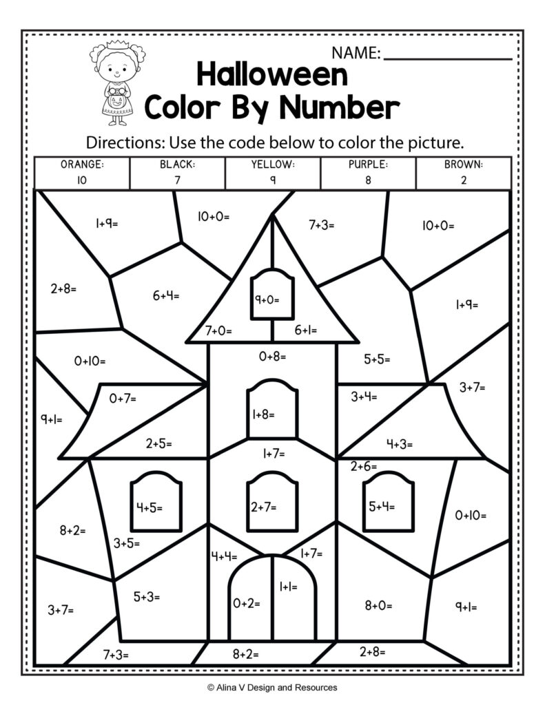 Free Printable Halloween Math Worksheets First Grad Grade