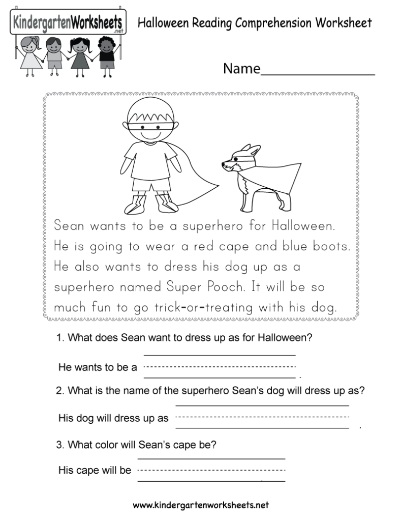 Free Printable Halloween Reading Comprehension Worksheet For