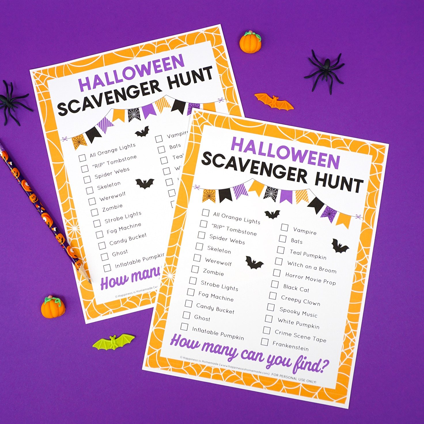 Free Printable Halloween Scavenger Hunt - Happiness Is Homemade