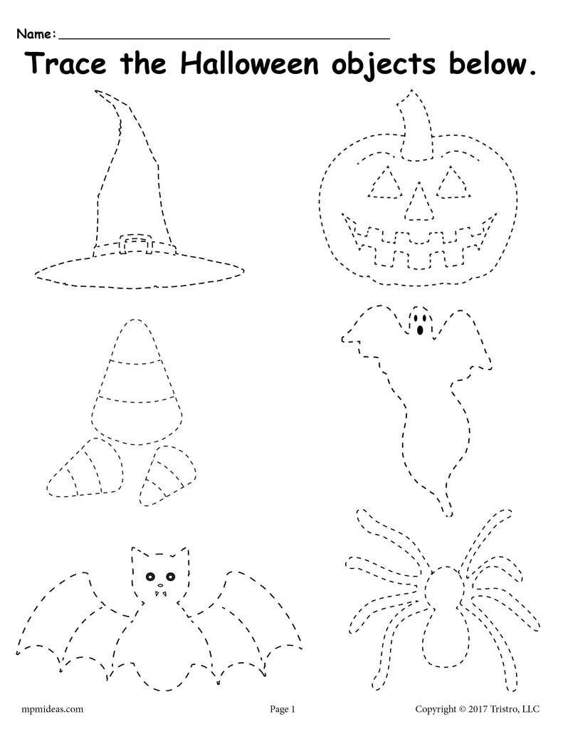 Free Printable Halloween Tracing Worksheet! | Halloween