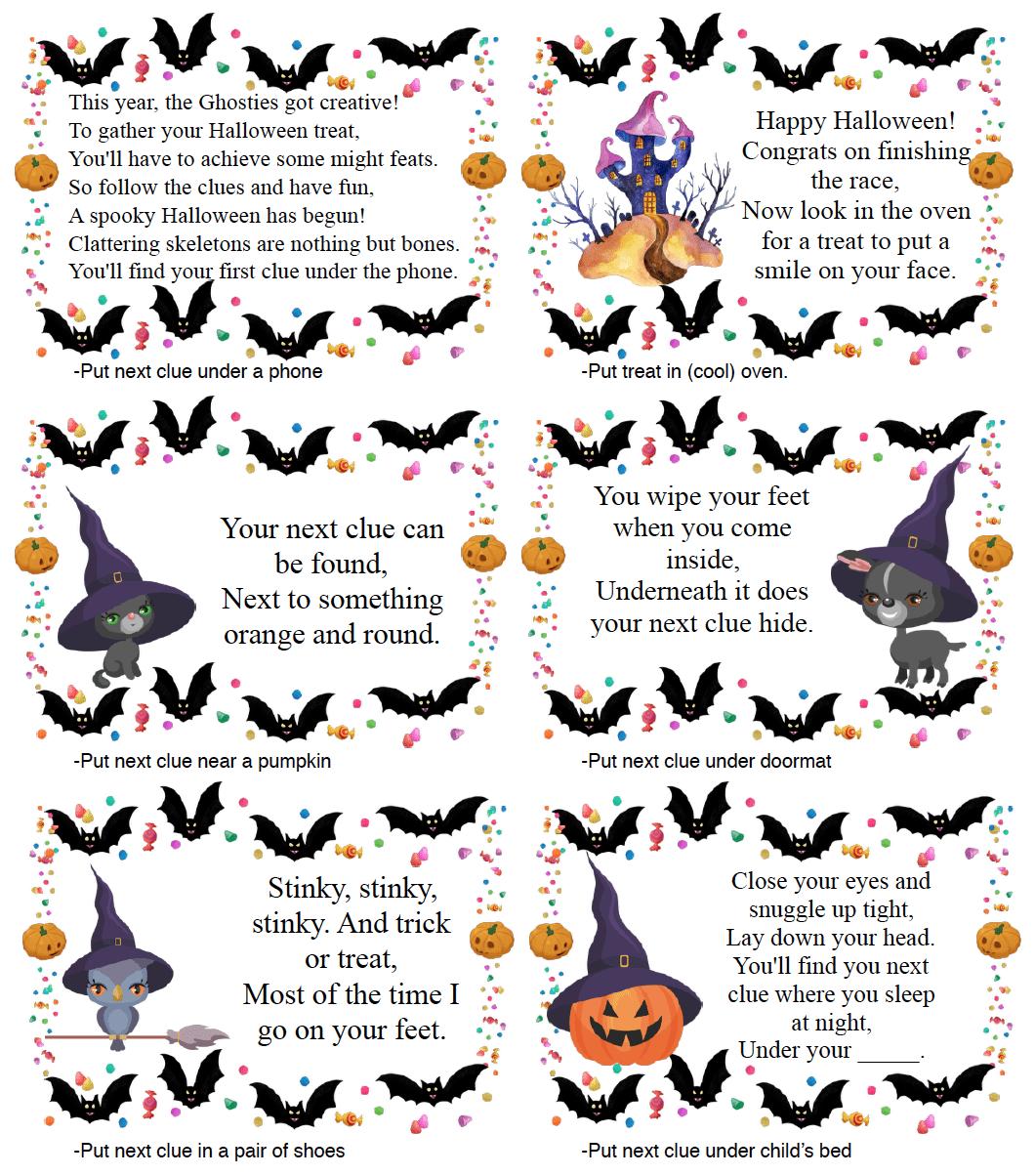 Free Printable Halloween Treasure Hunt For Kids: 24 Clues