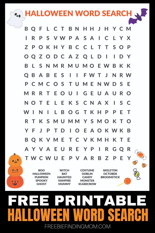Free Printable Halloween Word Search In 2020   Halloween