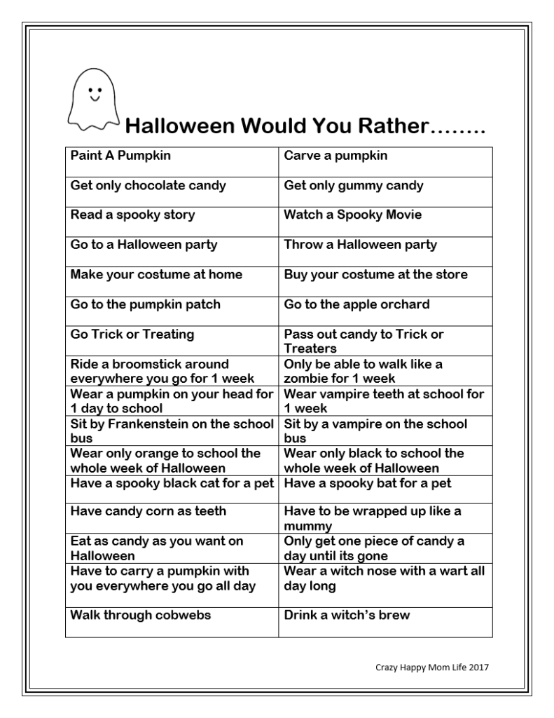 Free Printable Halloween Would You Rather Questions