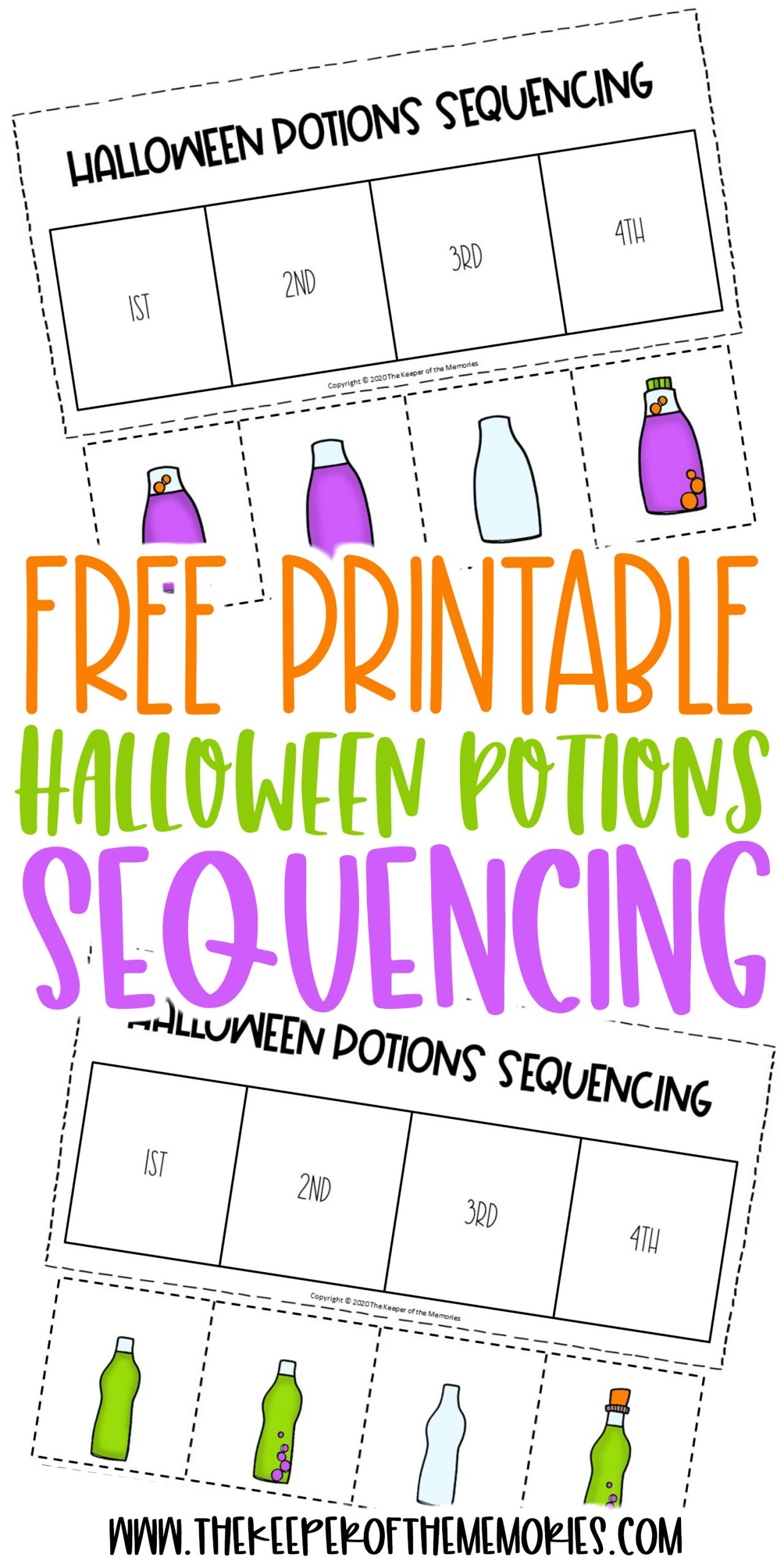 Free Printable Potions Sequencing Halloween Preschool
