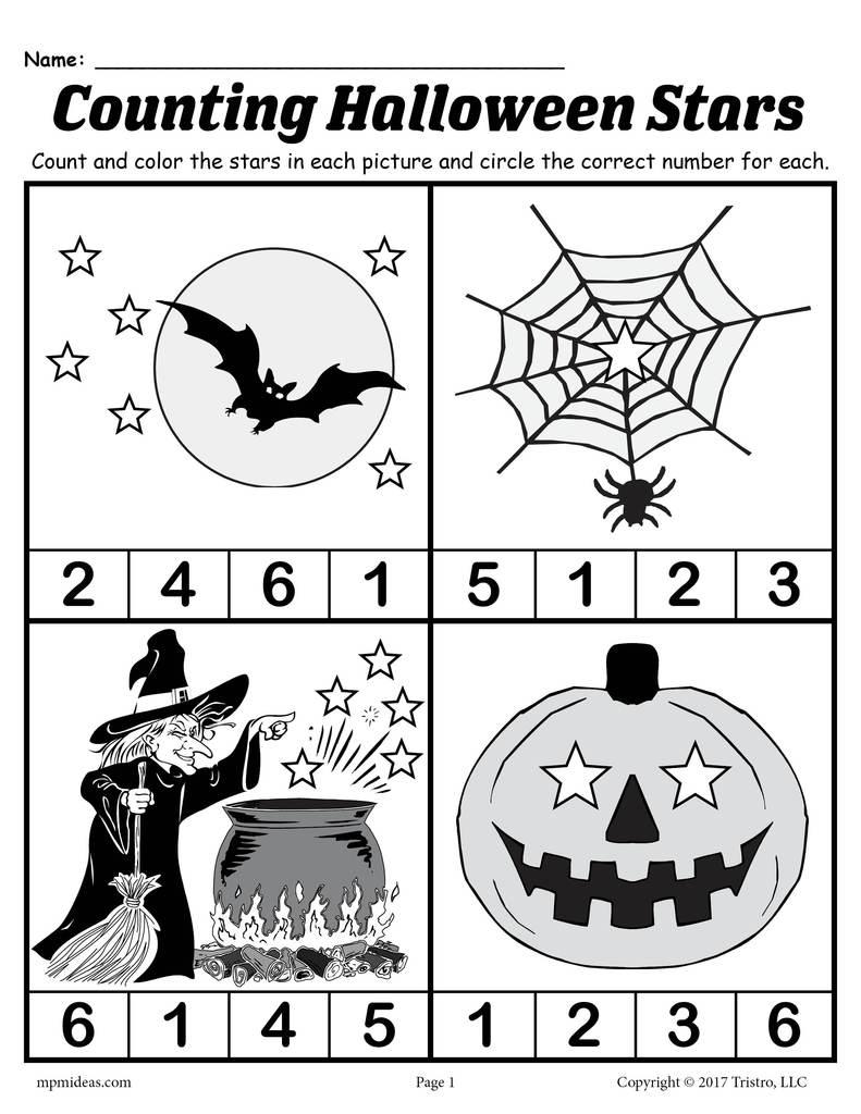 Free Printable Preschool Halloween Counting Worksheet