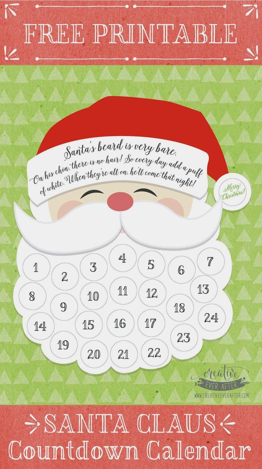 Free Printable} Santa Claus Beard Countdown Calendar