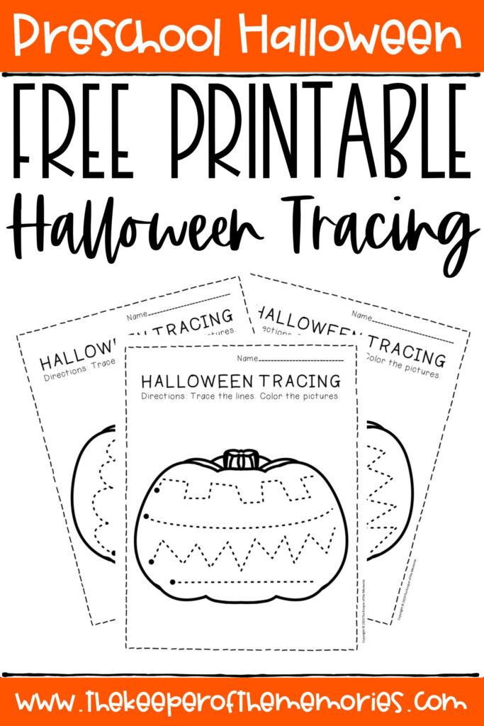 Free Printable Tracing Halloween Preschool Worksheets   The