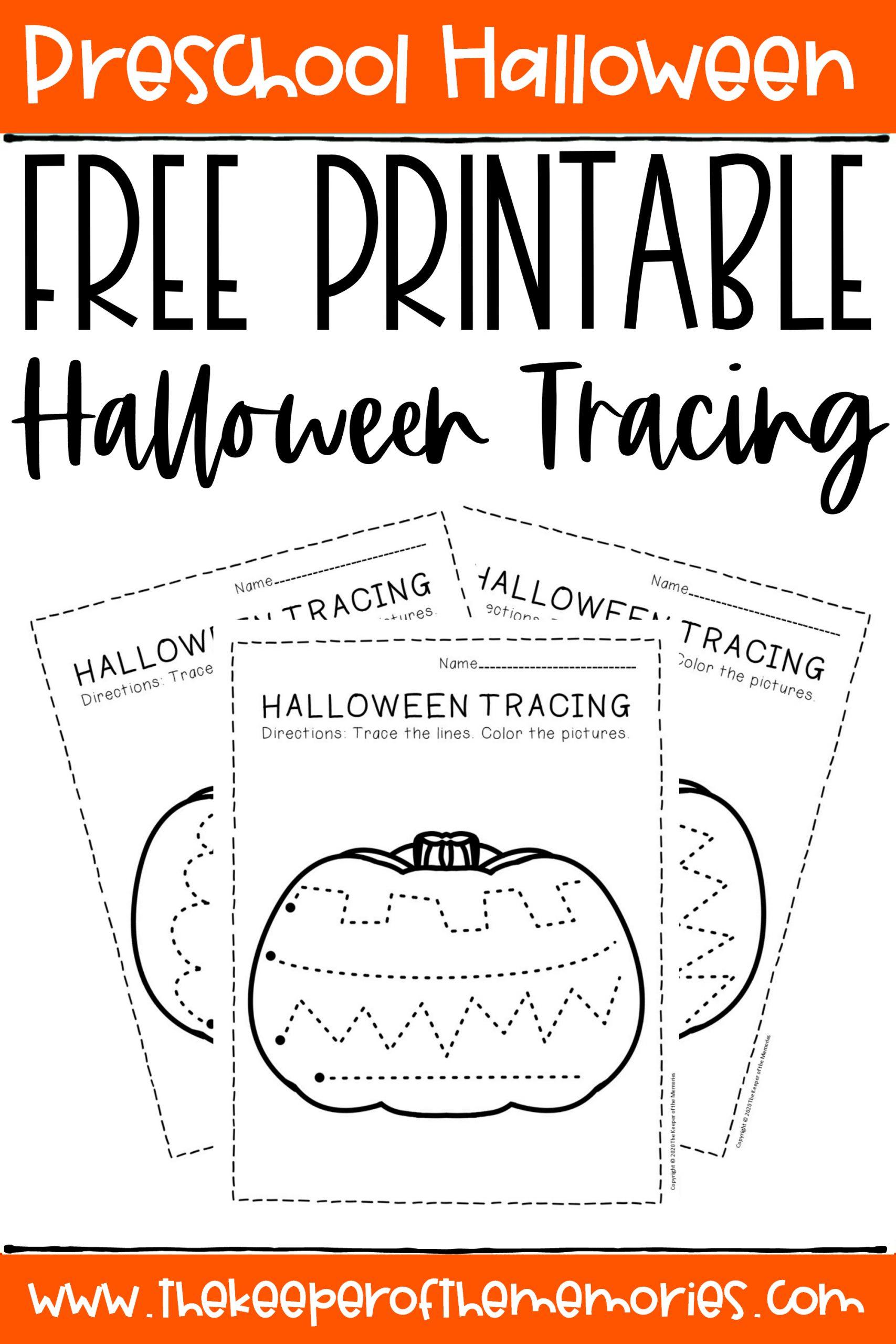 Free Printable Tracing Halloween Preschool Worksheets - The