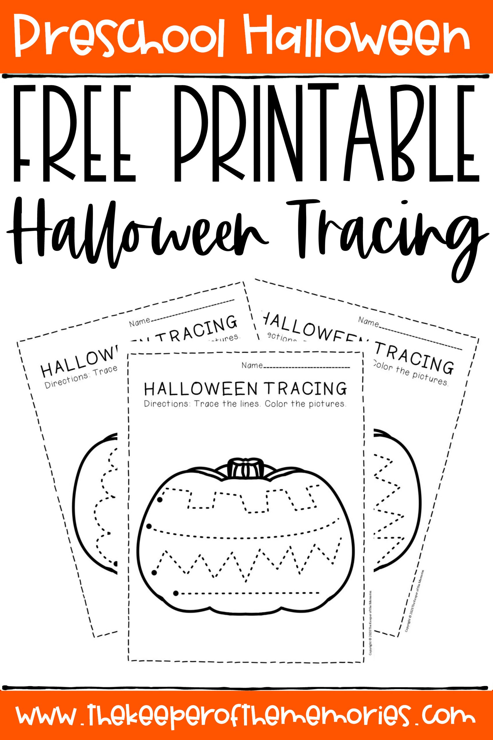 Free Printable Tracing Halloween Preschool Worksheets - The
