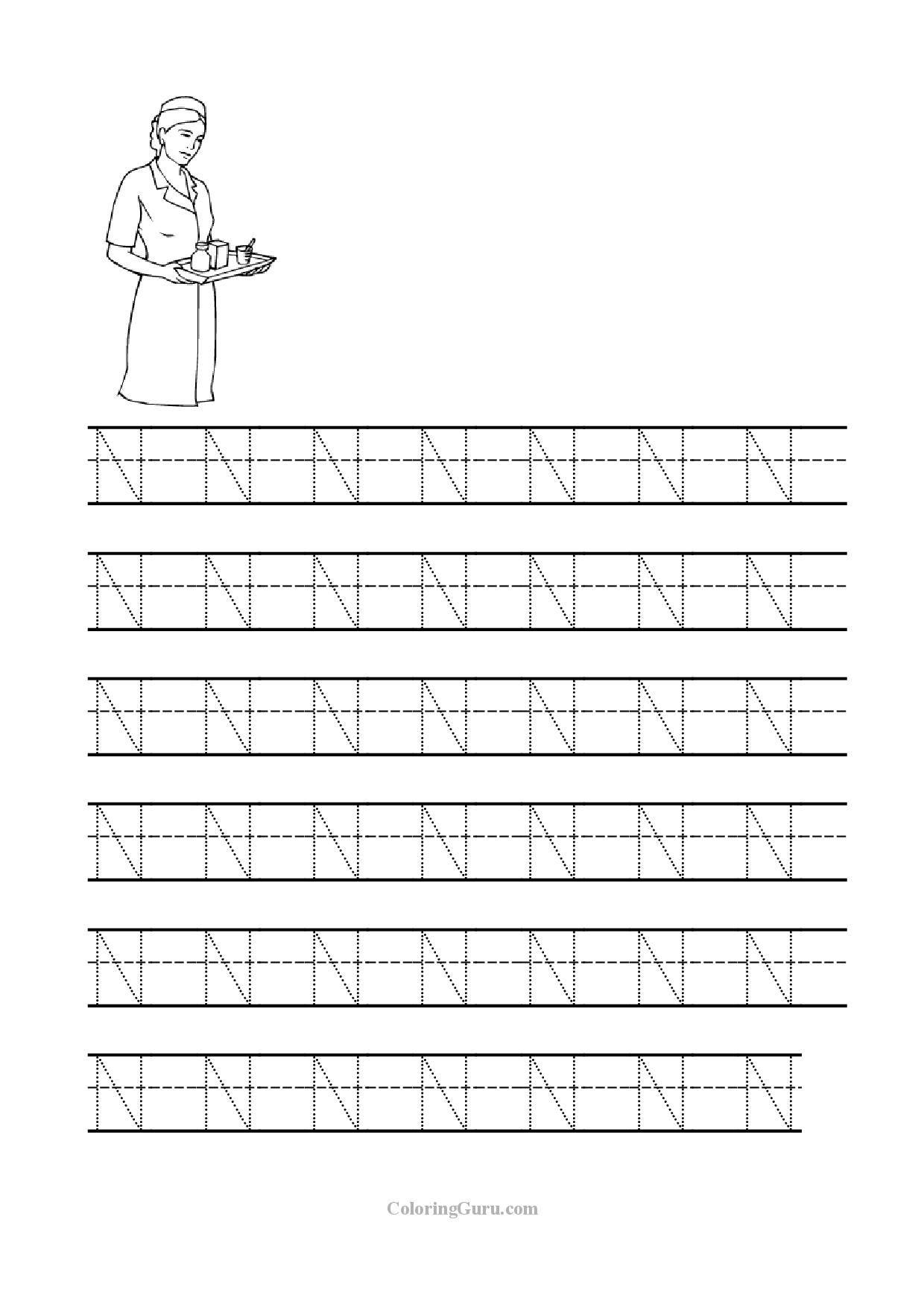 Free Printable Tracing Letter N Worksheets For Preschool in N Letter Tracing