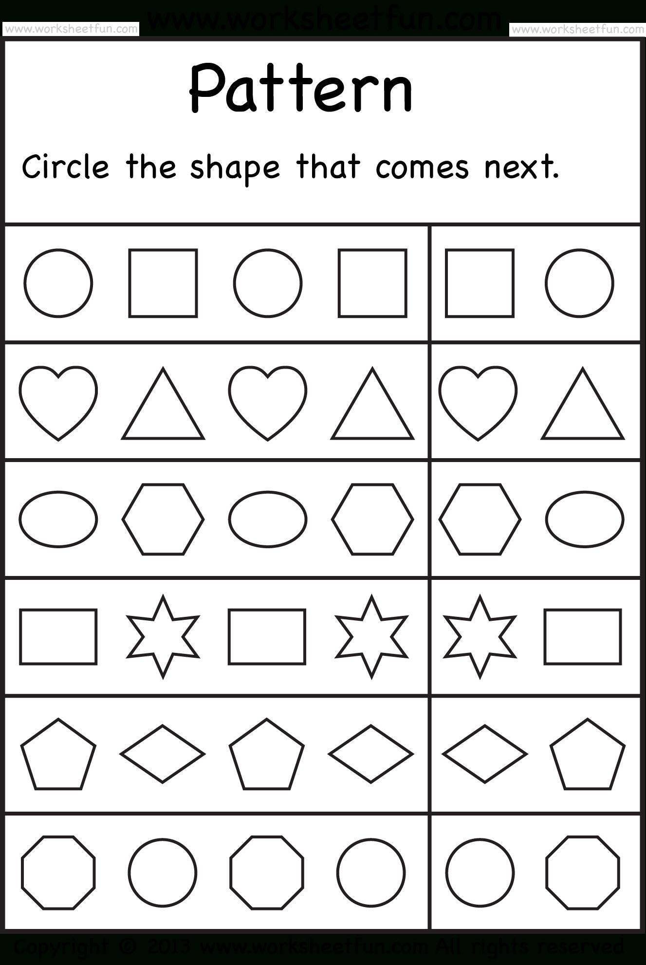 Free Printable Worksheets | Pattern Worksheet, Patterning