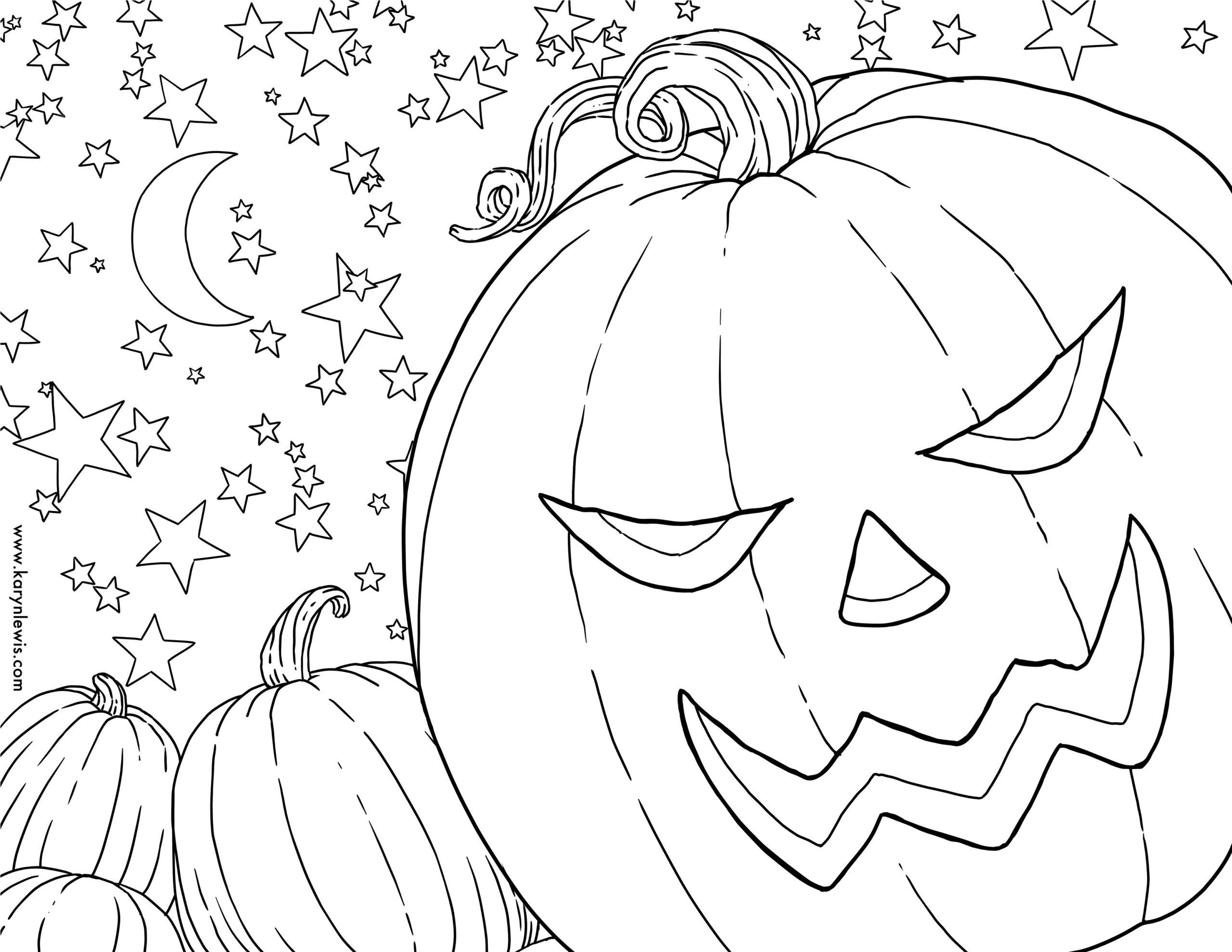 Free Pumpkin Patch Halloween Coloring Page   Karyn Lewis