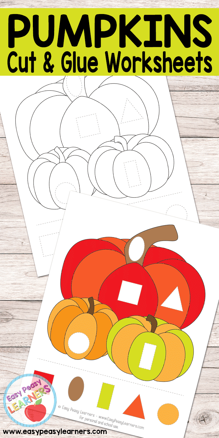 Free Pumpkins Cut And Glue Worksheets - Easy Peasy Learners