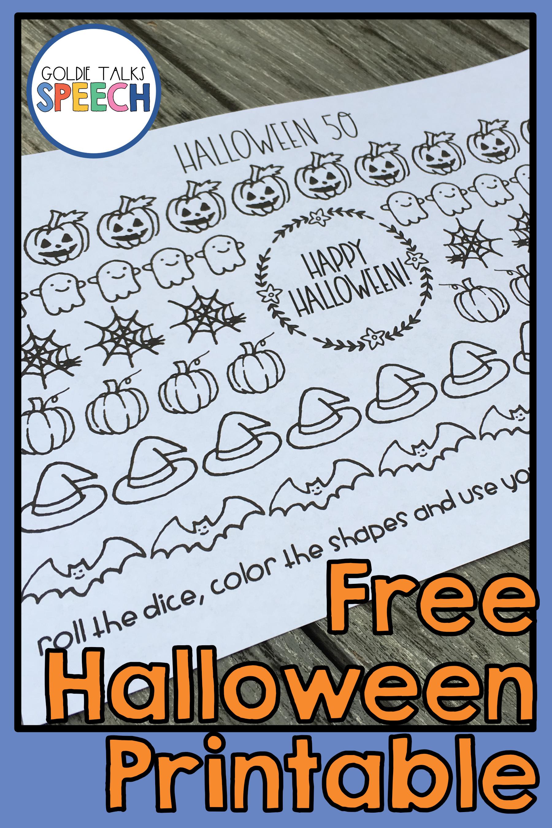 Free Speech Therapy Halloween Printable - Make Your Speech