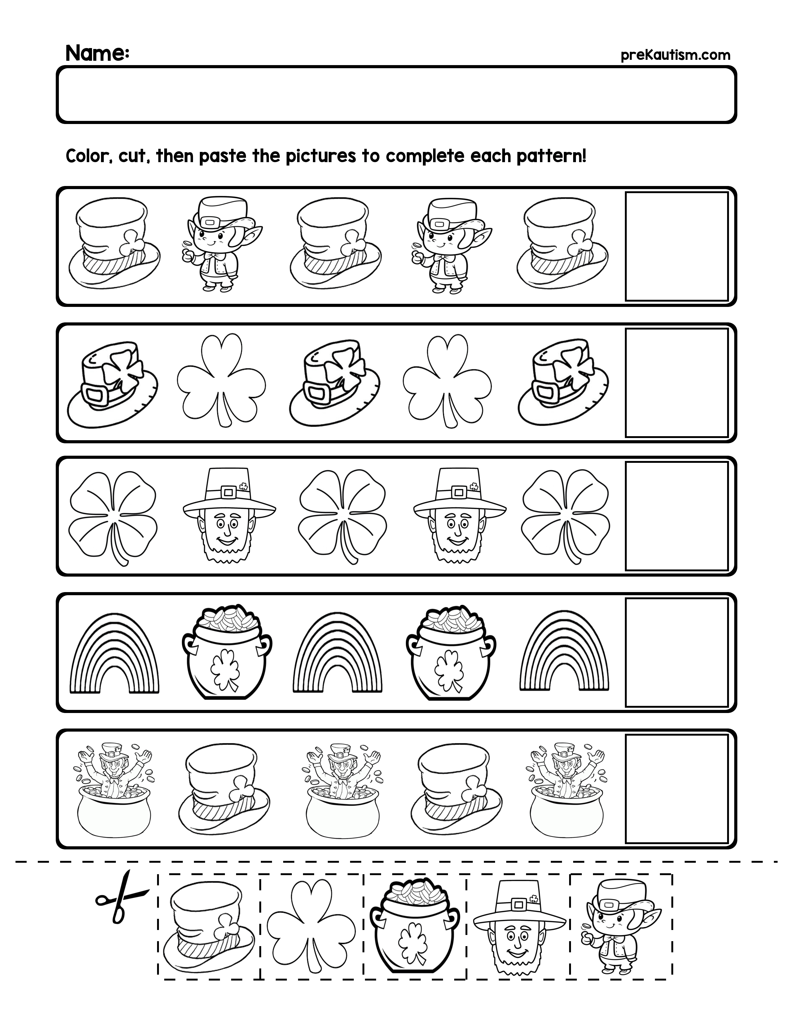 Free St. Patrick's Day Pattern Worksheets | Ab Patterns