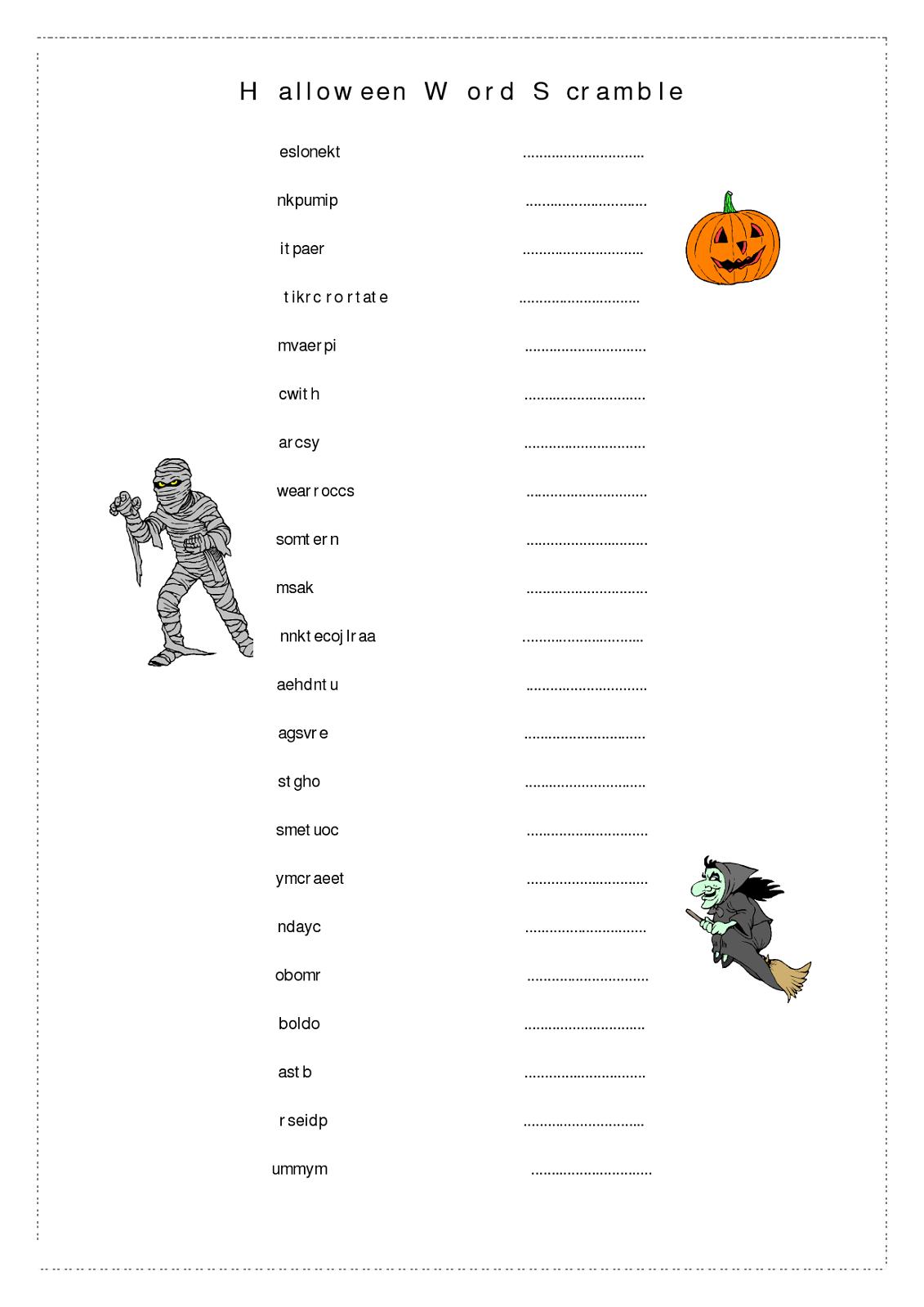 Free Word Scrambles Worksheets | Activity Shelter