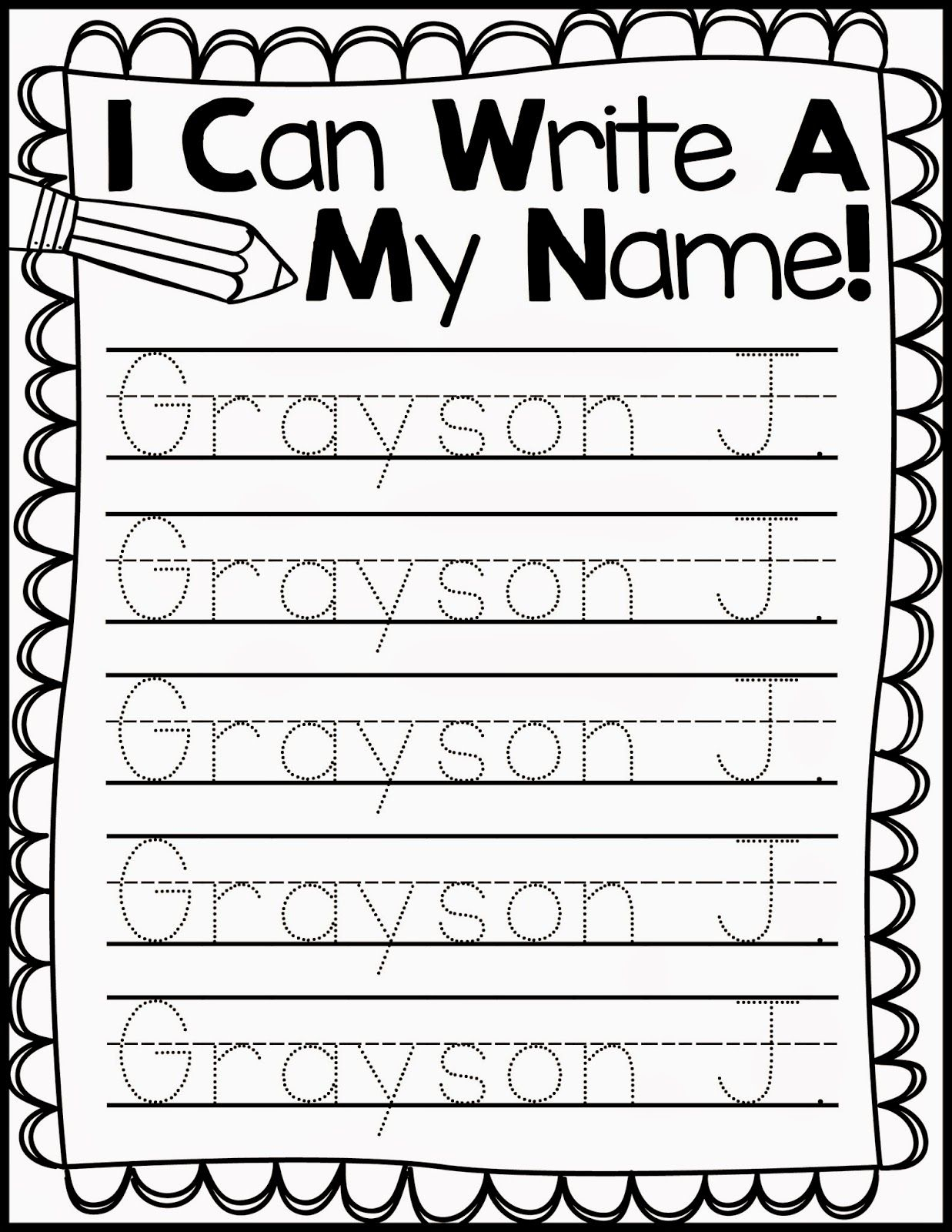 Freebie Friday Name Handwriting Practice Kindergarten Names regarding Name Tracing Freebie