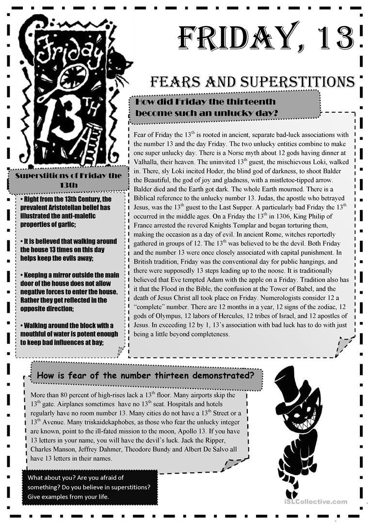 Friday 13Th Fears And Superstitions Worksheet - Free Esl