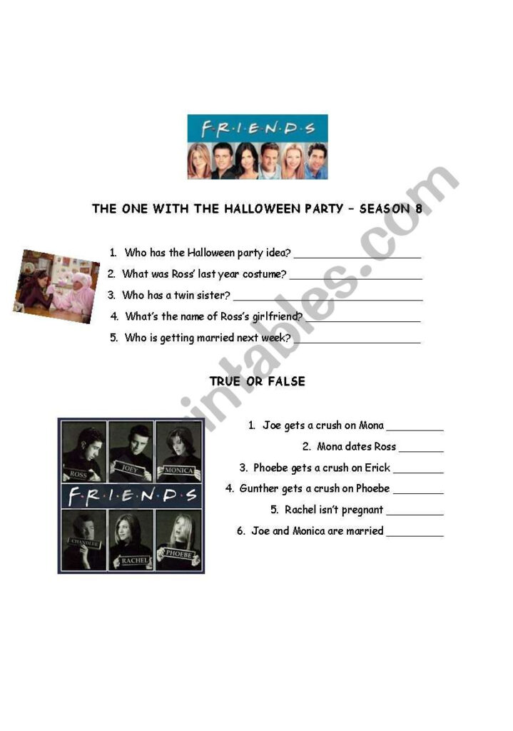 Friends: The One With The Halloween Party   Esl Worksheet