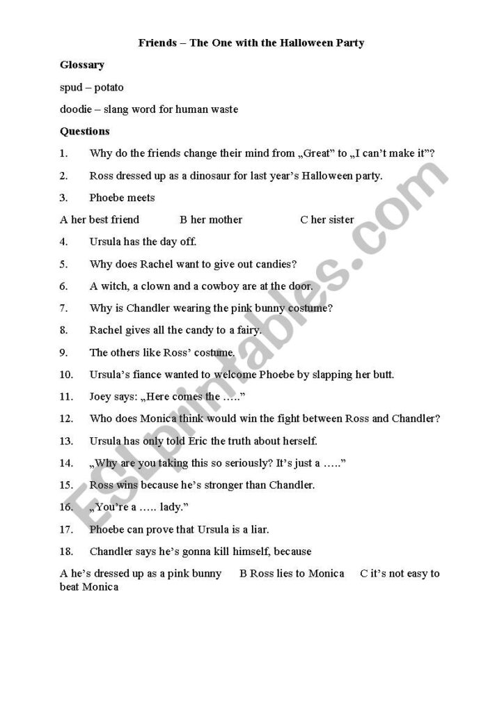 Friends   The One With The Halloween Party   Esl Worksheet
