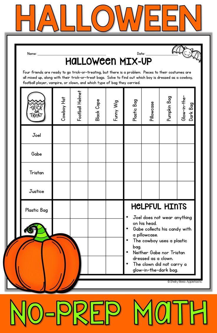 Fun Halloween Math Worksheets 4Th Grade Assessment Test
