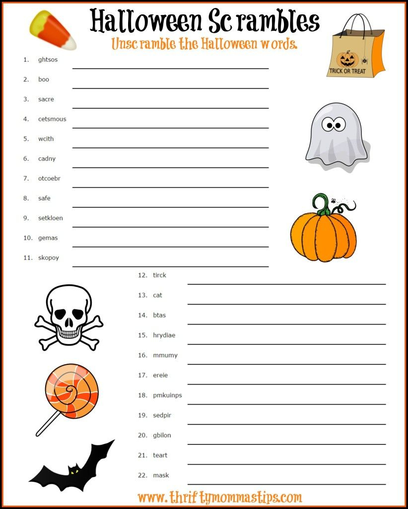 Fun Halloween Word Scramble - Thrifty Mommas Tips
