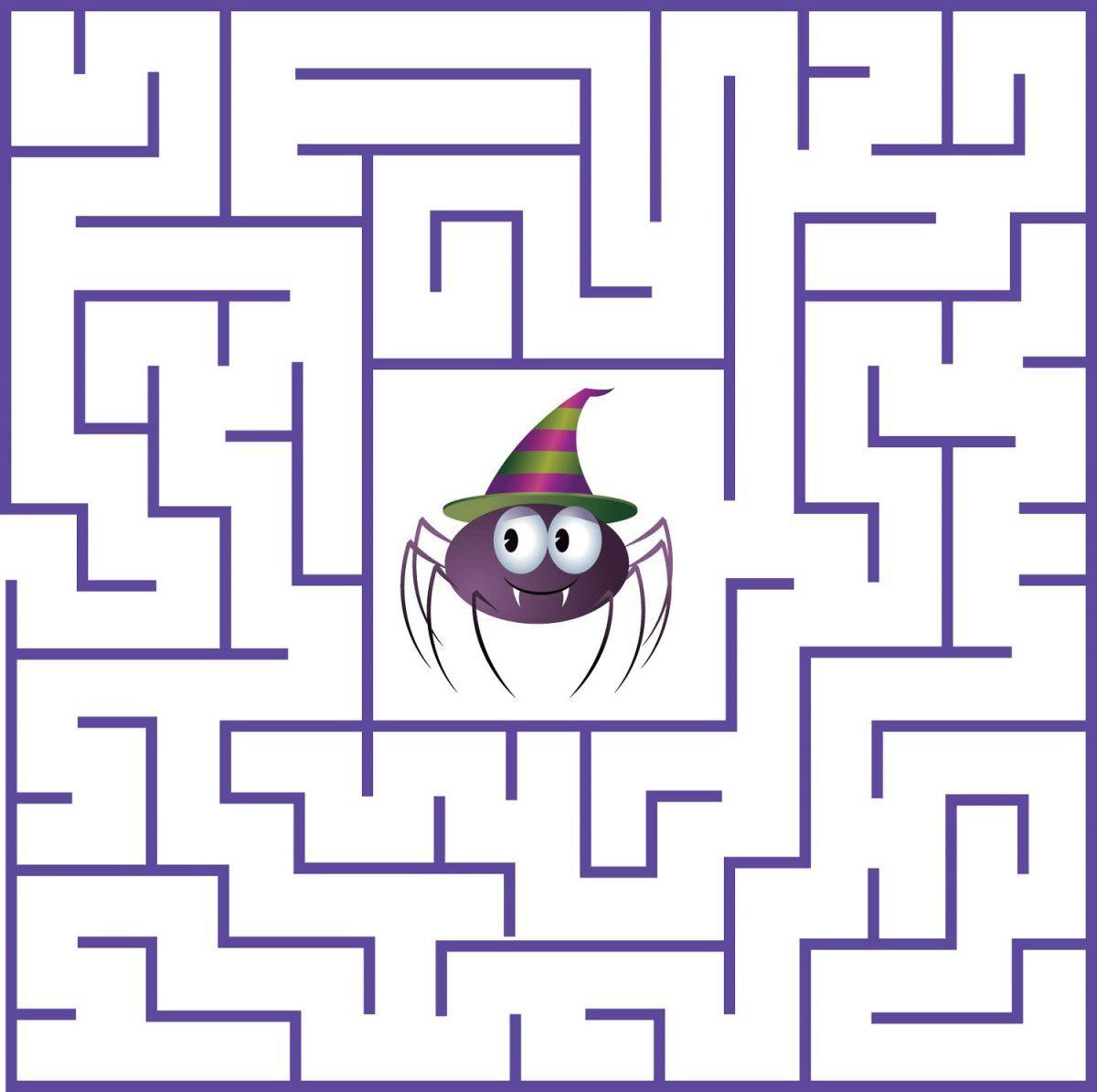 Fun Mazes For Kids Spider   Mazes For Kids, Halloween Maze