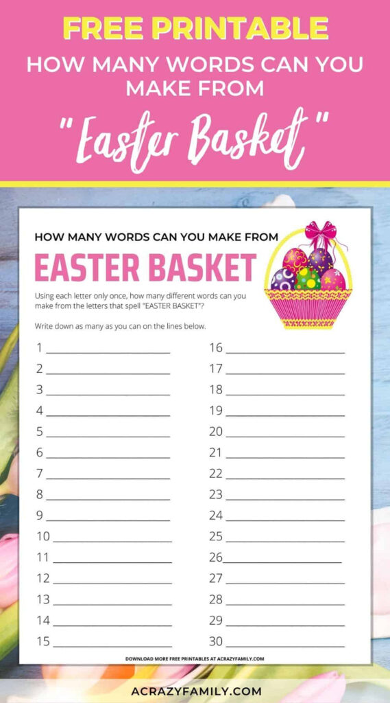 Fun Printable Easter Words Activity For Kids